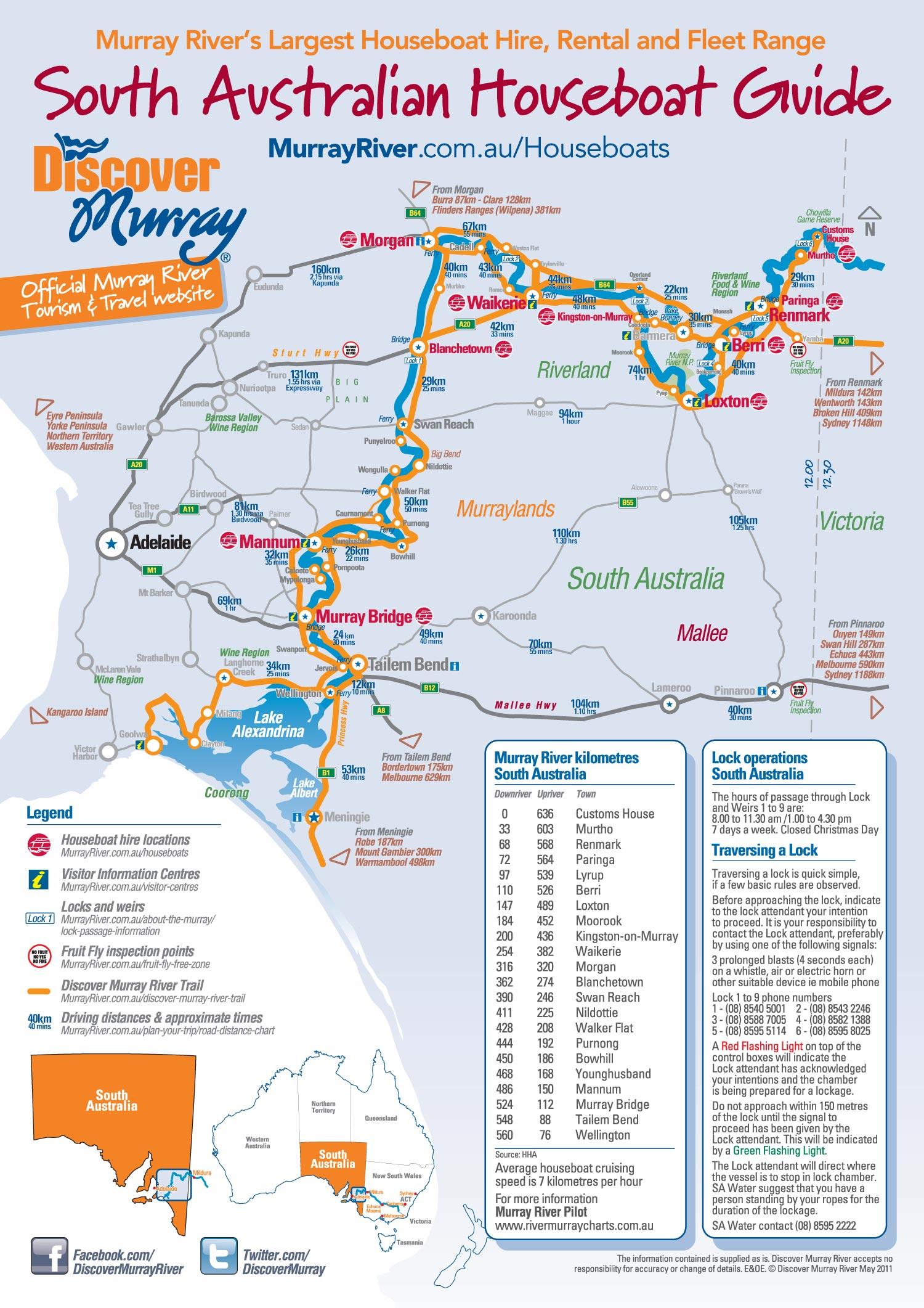 South Australian Houseboats Map And Departures