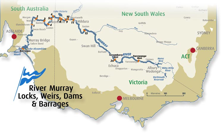 Australia Map Rivers.Murray River Locks Weirs Dams Barrages