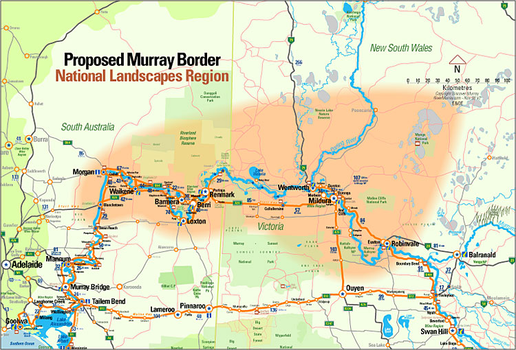 Proposed boundary for Murray River Outback Tri-State National Landscape