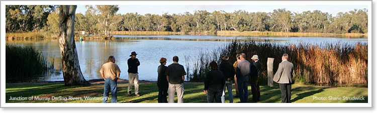 National Landscapes committee discuss Australia's great Murray-Darling River's junction, Wentworth