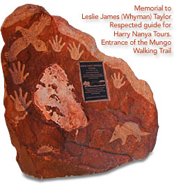 Memorial to Leslie James Taylor - Mungo National Park