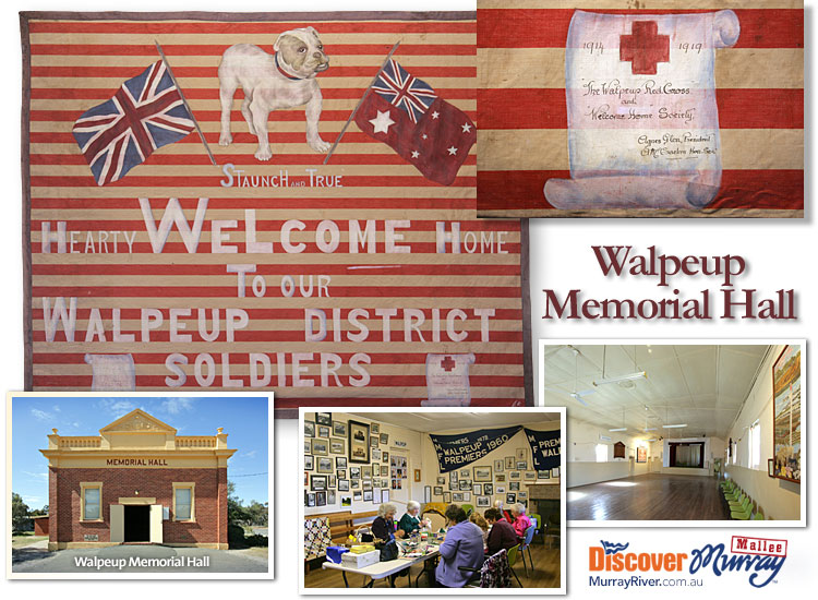 Walpeup WWI banner and hall